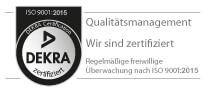 DEKRA seal of quality according to ISO 9001:2015